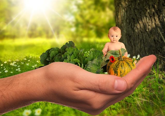 bébé légumes dans une main