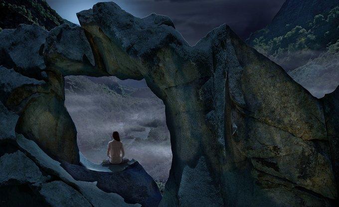 femme roche méditation fenêtre